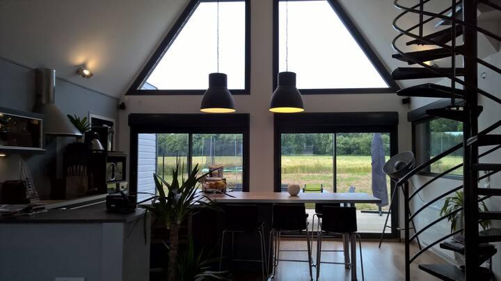 Luxueuse Maison bois moderne, jacuzzi, 5min Amiens