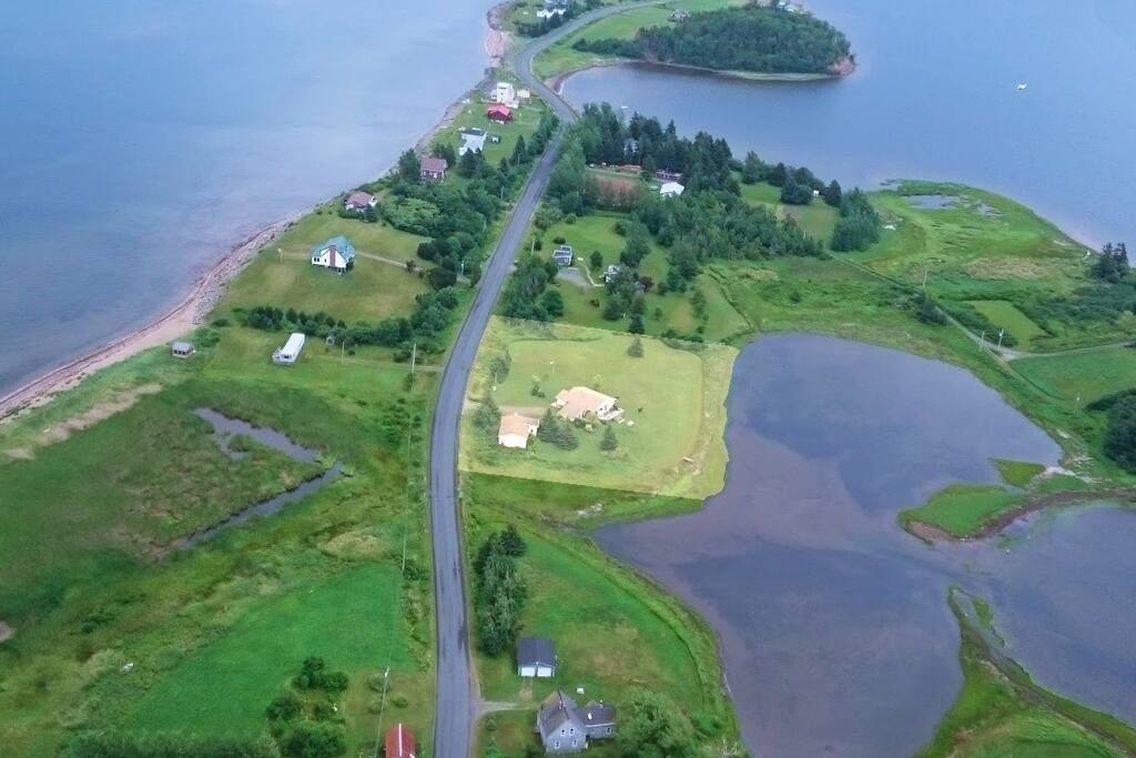 The property is highlighted, Caribou Harbour on the right, Strait on the left.