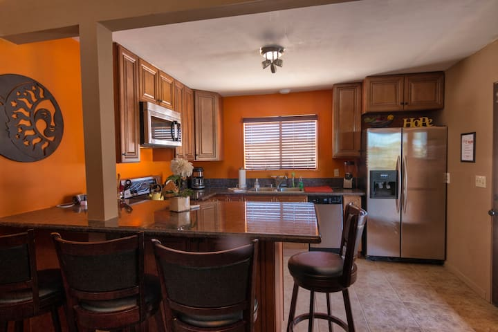 Full sized kitchen for entertaining while vacationing in 29 Palms