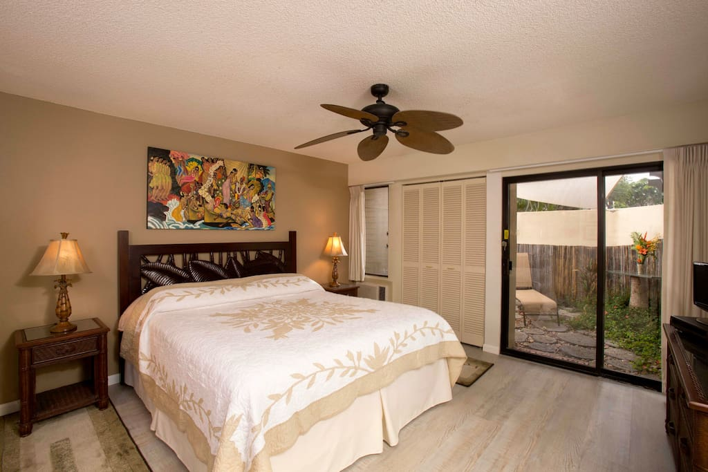 Private sun porch, new flooring & attached bathroom makes air-conditioned bedroom a tranquil receipt.
