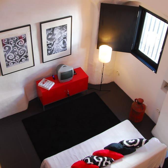 Living room, seen from bedroom mezaninne
