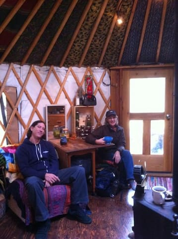 Cozy cup of coffee in the yurt