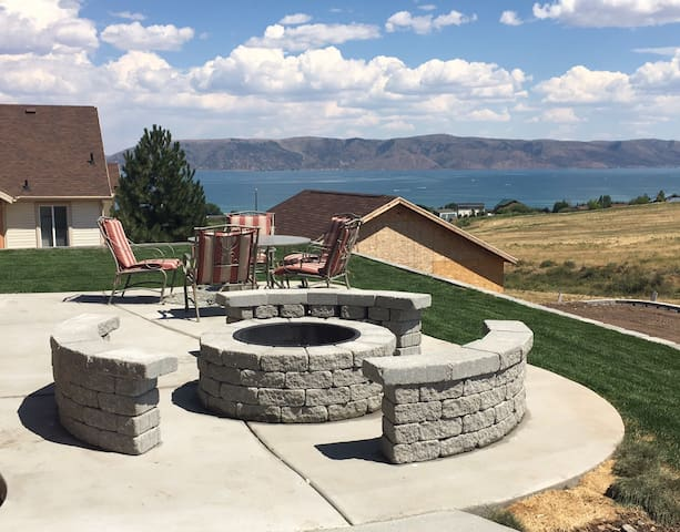 Fire pit and large patio area