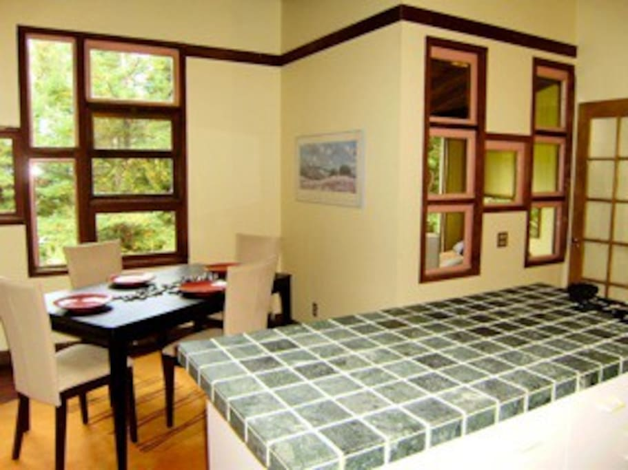 Dining room with a redwood meadow view!