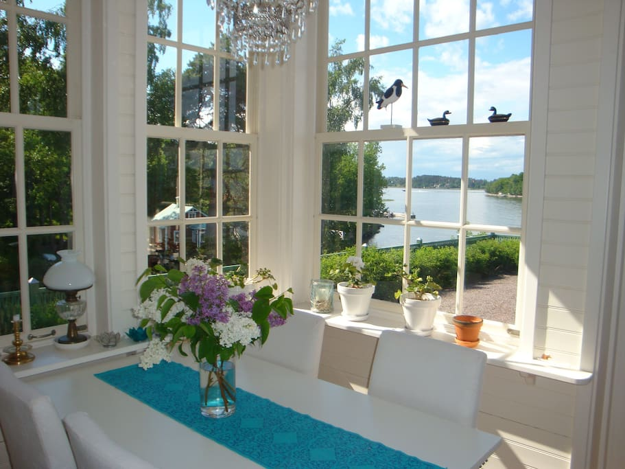 Veranda overlooking the water