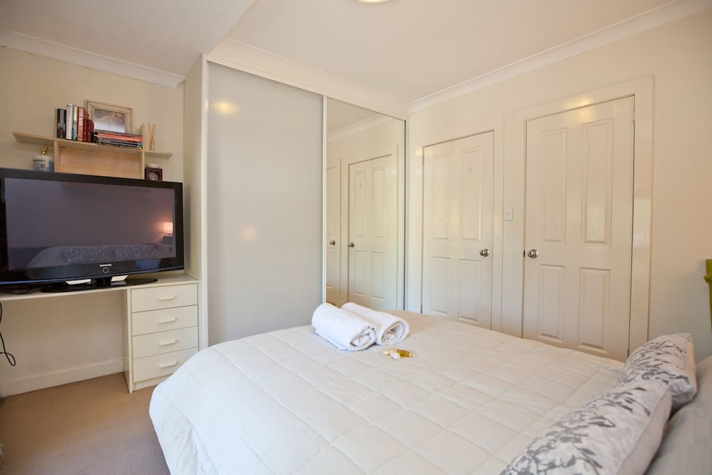your private bedroom with large screen tv, own balcony and private ensuite, secure with lockable doors.