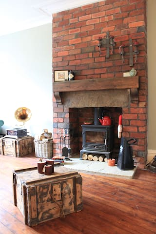 Living room with real wood burning stove
