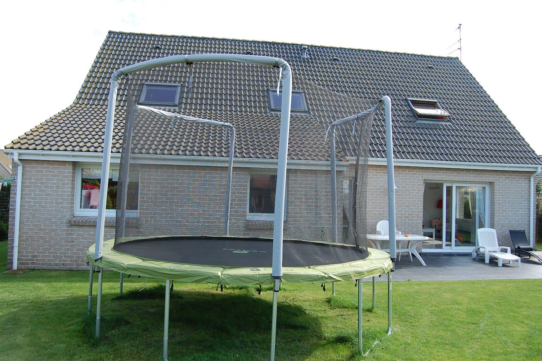 Back garden with trampoline