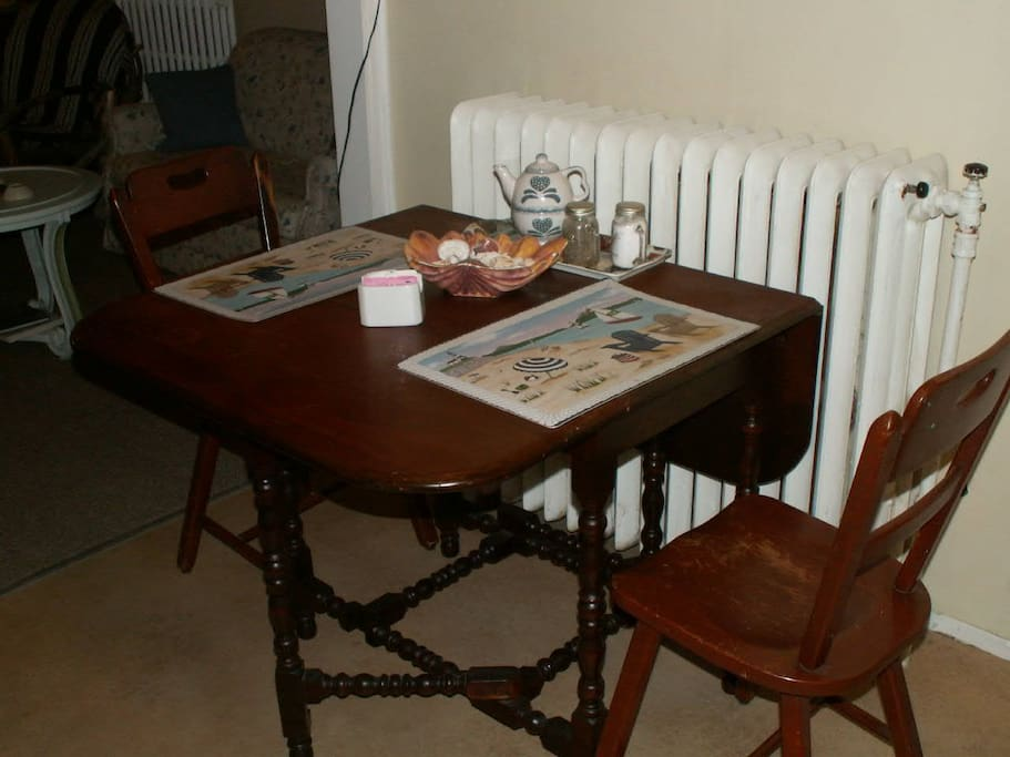 Kitchen table in back suite