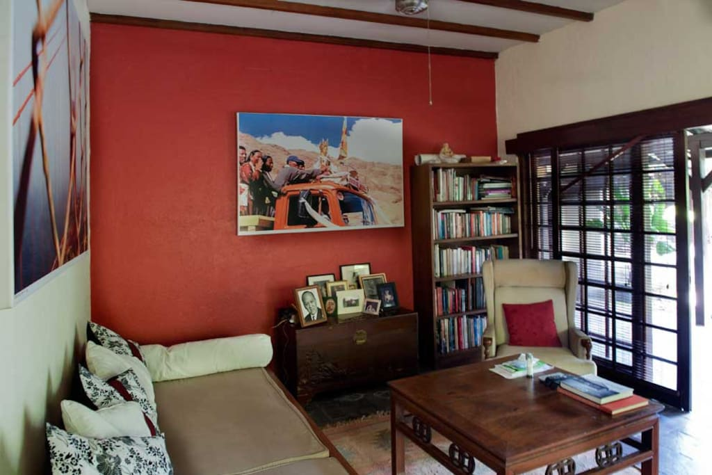 The living room, books, cable tv fan or air conditioned. (shared)