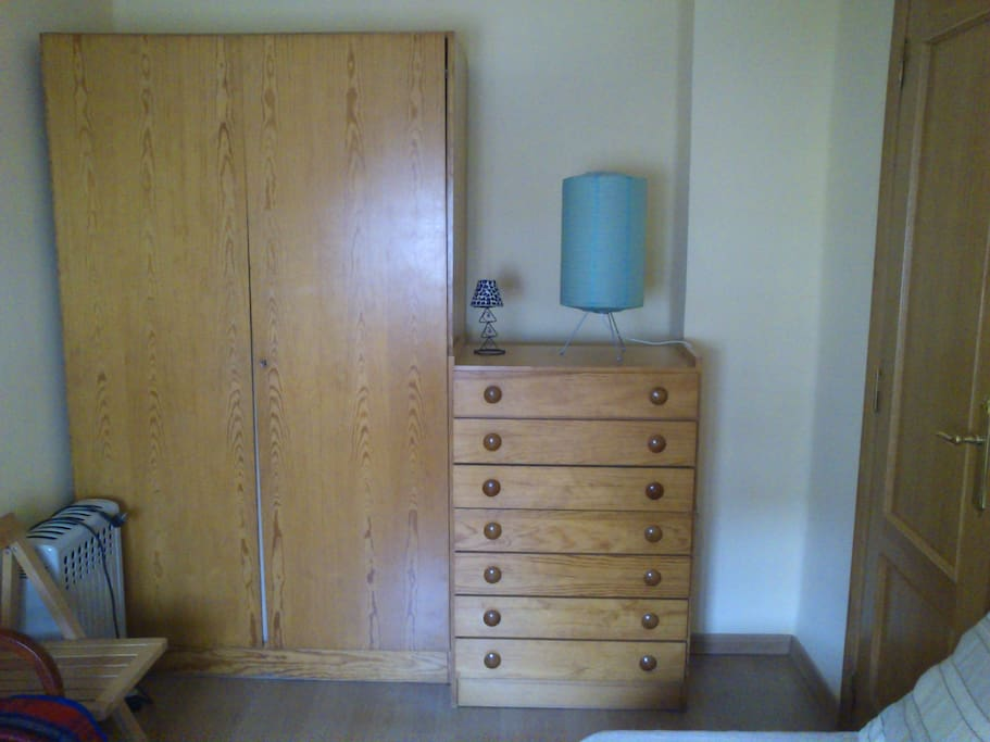 Your room. Visible is one bed but there are two beds and room for lugagge plus wardrobe and chest of drawers as well.