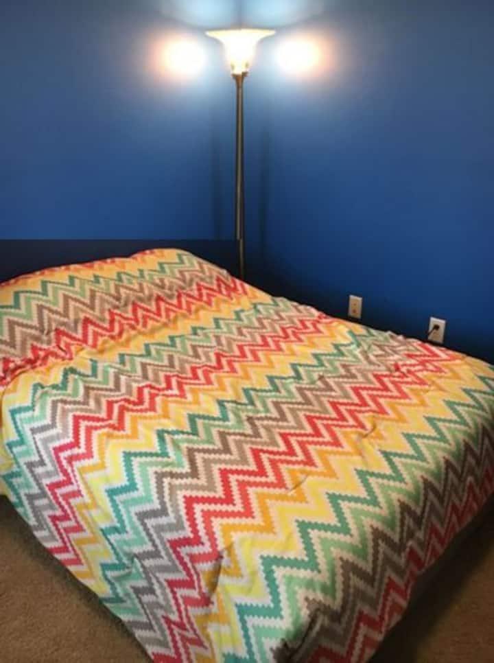 Bedroom & shared bath (no kitchen) Blue room