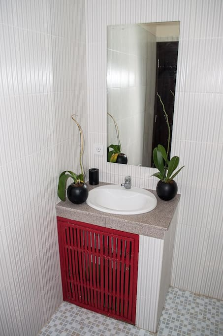 Bathroom with fresh towels and shower