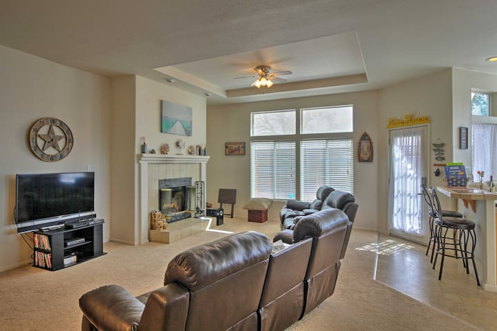 Find refuge from the sun in the spacious living room.