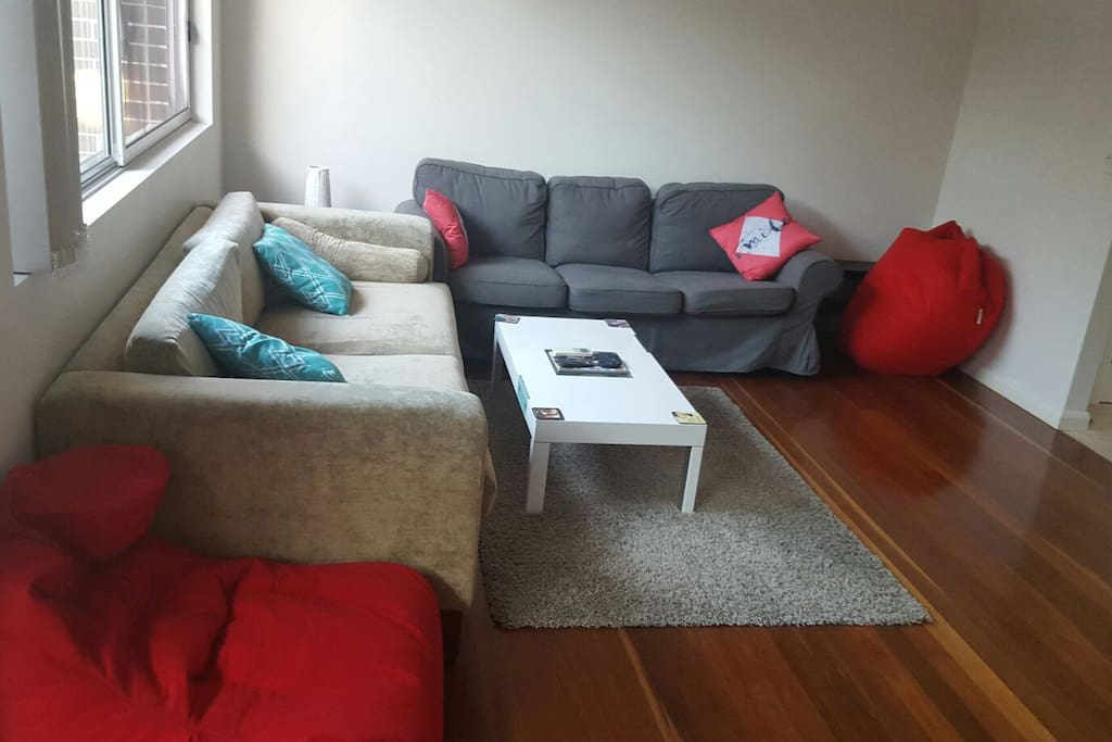 Living area with 6 seater  + 3 bean bags