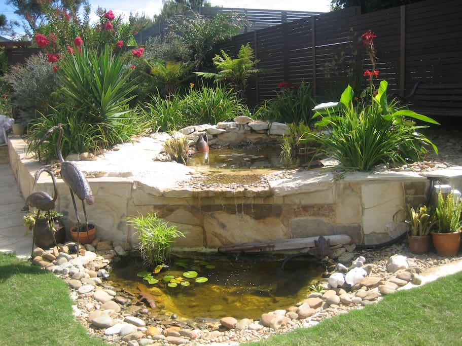 Back yard water feature viewable from indoor living space.