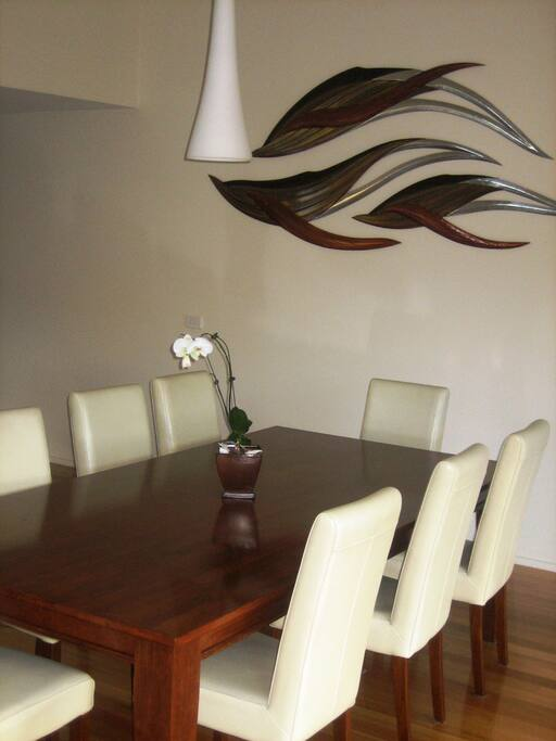 Dining end of open plan living space.