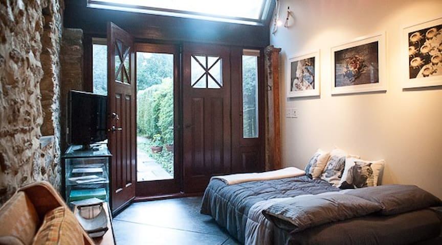 Double french doors can both be opened.