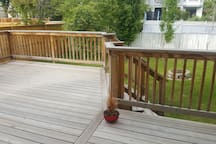 Backyard with large deck.