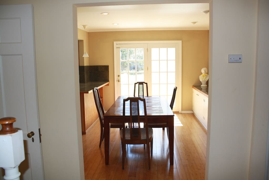 Looking into the dining room