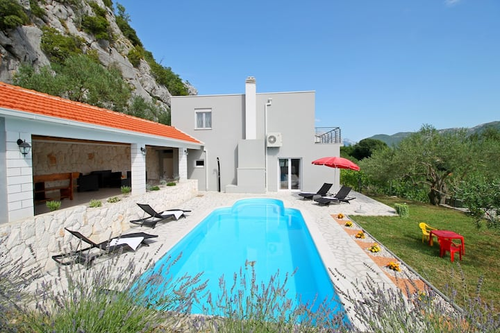 Villa Pasika private 31m2 pool, summer kitchen with BBQ