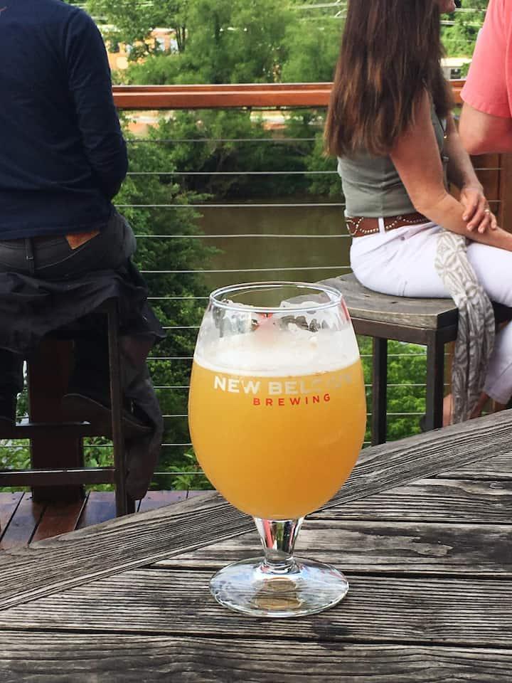 Enjoying a beer at New Belgium