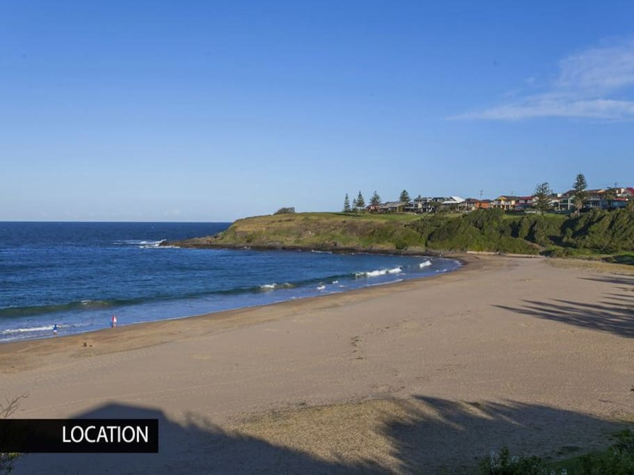Your local beach. View here from Surf Beach headland, on part of coastal walking track, looking south across Kendall's Beach.