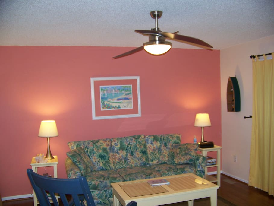 Newly updated living room - beachy colors, new lighting, eco-friendly bamboo flooring.