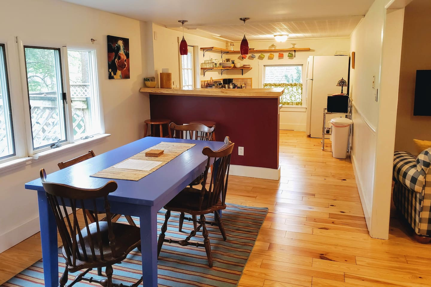 The open floor plan kitchen, dining, and living room is great for families.