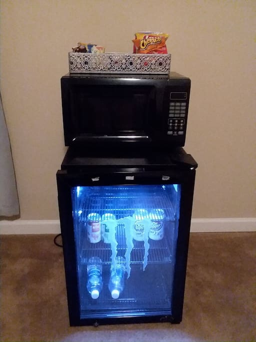 microwave and minifridge available with snacks