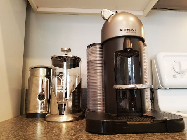 Try an espresso or coffee from the Nespresso Vertouline or use a classic French press.
