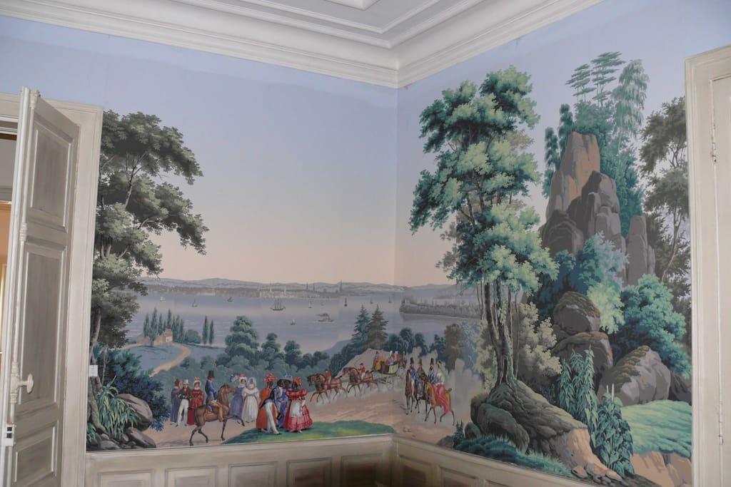 Détail du panoramique, la baie de New York au 19ième siècle