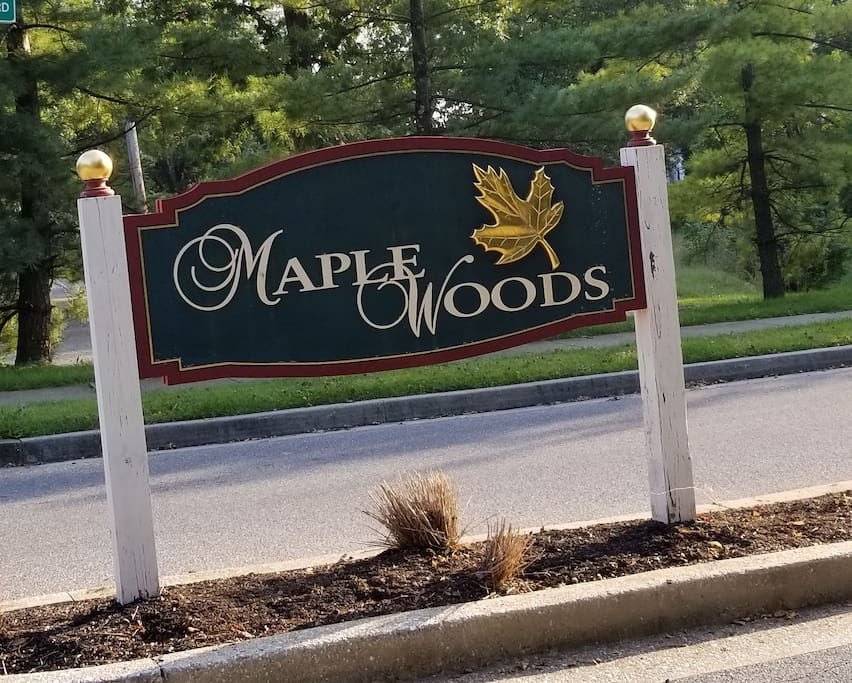 Our neighborhood is Maple Woods and this sign greets you when you turn off Harlem Lane.
