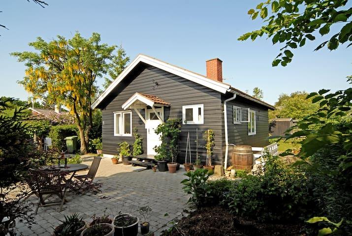 Idyllic wooden house with garden