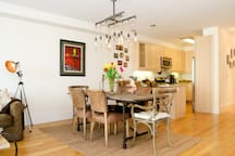 Eat at the bar or the refurbished dining room table