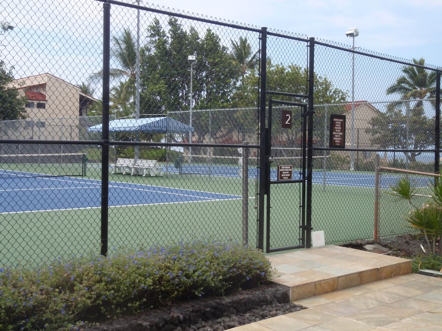 View of tennis courts