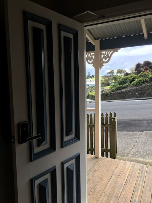 View from open front door looking out to Victoria Street.