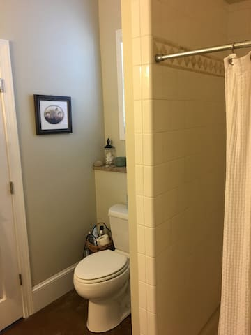 Ground level Bathroom connected to master bedroom with walkin tile shower