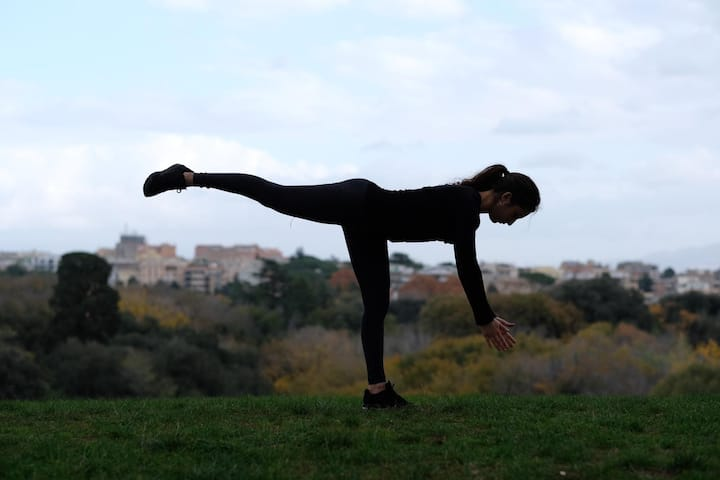 Yoga asana in Villa Pamphili