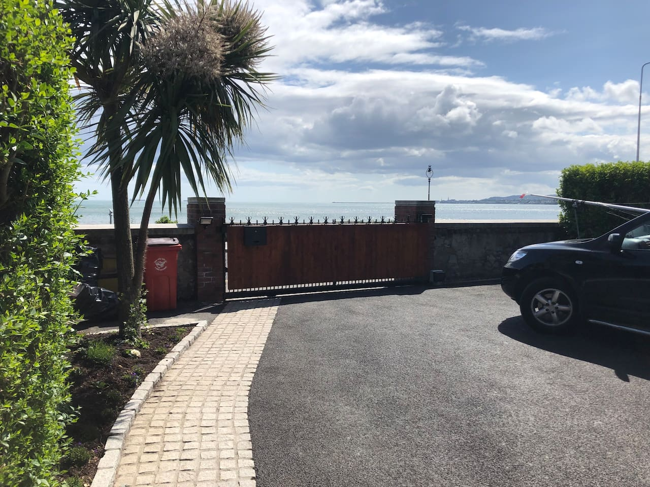 Apartment front entrance gate, with direct access to Dublin Bay