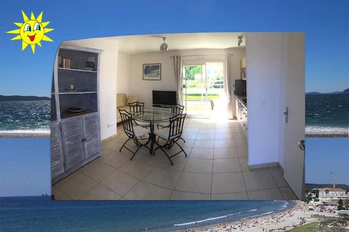 Beau T2 (48 m²)  clim+terrasse à 2 pas des plages