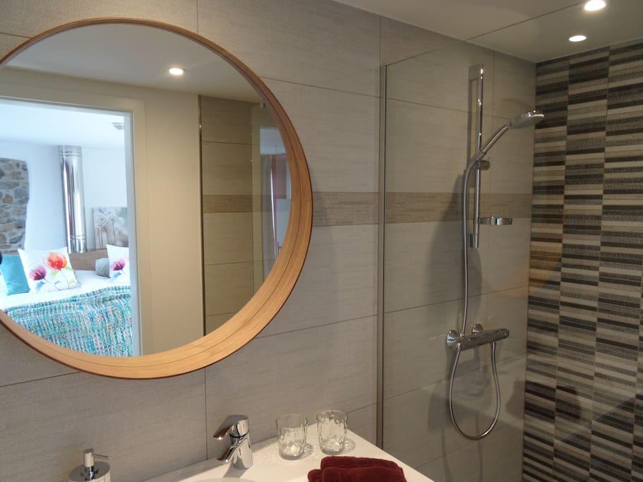 La salle de bain avec la douche italienne et le wc séparé