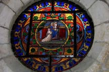 One of the many beautiful stained glass windows in the church.