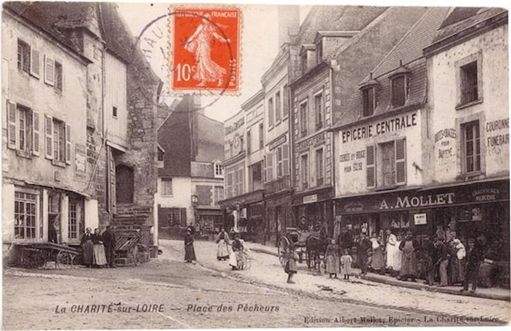 Old photo postcard of La Charité-sur-Loire from the early 1900s.