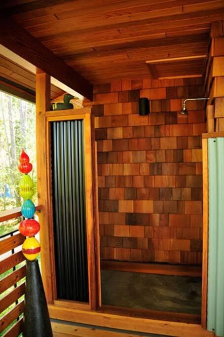 lund cottage outdoor hot water shower