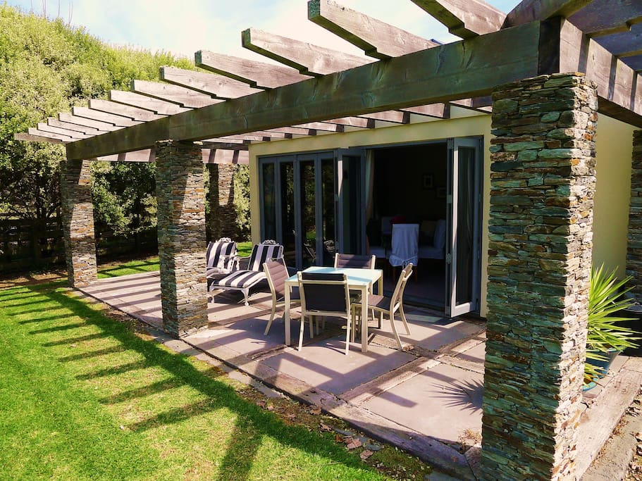 Relax On The Schist Stone Colum Patio And Enjoy Your Own BBQ
