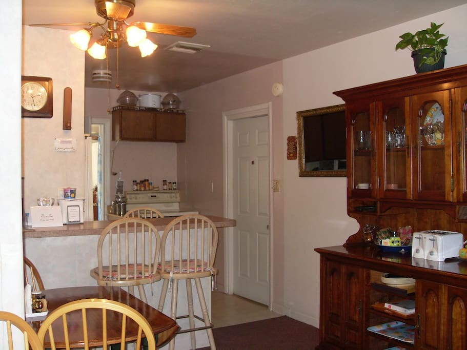 Shared breakfast bar and dining area.