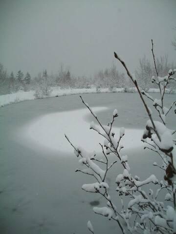 Le lac privé sur le domaine! Ici un hiver il y avait une demi-lune! ;)