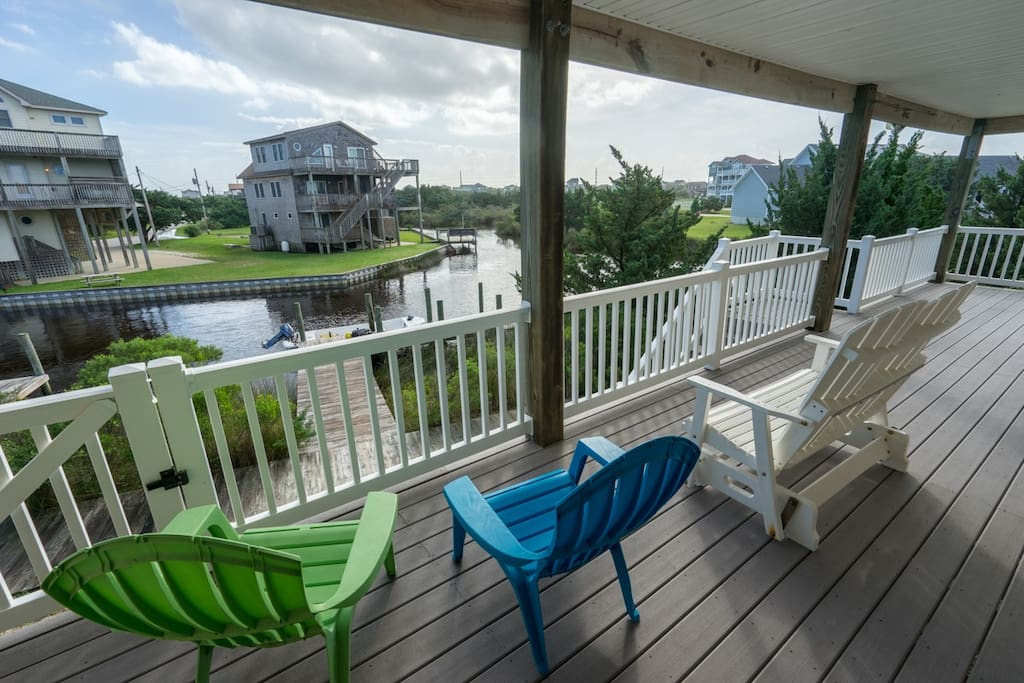 Bedrooms open to a large porch with beautiful views of the canal