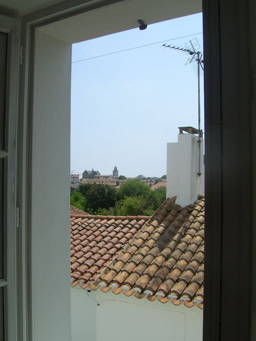 View south from the living room: the church of Port Joinville.